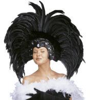 coiffe brésilienne, accessoire carnaval de rio, coiffe de carnaval, coiffure brésilienne, accessoire déguisement, déguisement brésilienne, coiffe brésilienne à plumes Coiffe Brésilienne, Copacabana, Plumes Noires
