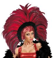 coiffe brésilienne, accessoire carnaval de rio, coiffe de carnaval, coiffure brésilienne, accessoire déguisement, déguisement brésilienne, coiffe brésilienne à plumes Coiffe Brésilienne, Copacabana, Plumes Rouges