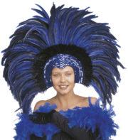 coiffe brésilienne, accessoire carnaval de rio, coiffe de carnaval, coiffure brésilienne, accessoire déguisement, déguisement brésilienne, coiffe brésilienne à plumes Coiffe Brésilienne, Copacabana, Plumes Bleues