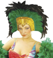 coiffe brésilienne, accessoire carnaval de rio, coiffe de carnaval, coiffure brésilienne, accessoire déguisement, déguisement brésilienne, coiffe brésilienne à plumes Coiffe Brésilienne, Crazy, Plumes Vertes