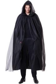 cape noire pour homme, cape noire à capuche pour homme, cape noire capuche luxe, cape noire venise, cape noire carnaval de venise Cape Noire à Capuche, Démon Halloween Luxe