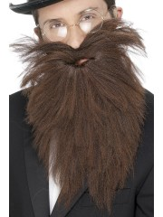 fausse barbe, fausses moustaches, postiche, barbe postiche, fausse barbe réaliste, fausse barbe de déguisement Barbe Large, Châtain
