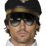 casquette de pilote, casquettes pilotes, accessoires déguisement de pilote Casquette de Pilote, Noir