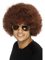 perruque pour homme, perruque pas chère, perruque de déguisement, perruque homme, perruque châtain, perruque afro Perruque Afro Funky 80, Châtain