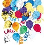 confettis de table, décorations anniversaire, décorations de table, confettis métallisés anniversaire Confettis de Table, Ballons Multicolores Happy Balloon