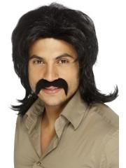 perruque pour homme, perruque pas chère, perruque de déguisement, perruque homme, perruque noire , perruque années 70, perruque disco Perruque 70's Rétro, Noire