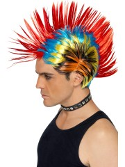 perruque pour homme, perruque pas chère, perruque de déguisement, perruque homme, perruque de punk, perruque multicolore, perruque crête de punk Perruque de Punk Multicolore
