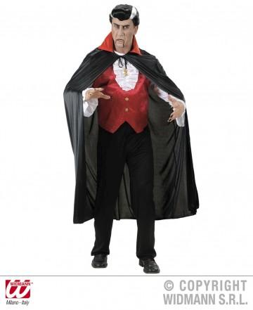 cape noire col rouge, cape halloween, cape noire halloween, cape à col rouge halloween, cape adulte halloween, cape de vampire halloween Cape Noire, Col Rouge en Satin