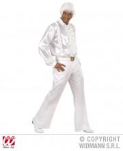 chemise disco satin, chemise disco déguisement, déguisement disco homme, chemise disco pour homme, accessoire disco déguisement homme, chemise blanche jabot Déguisement Disco 80, Chemise Froufrous, Blanche