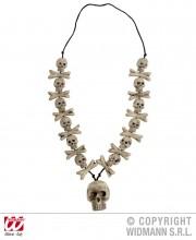 accessoires pirates, collier os et cranes, collier têtes de mort, collier de déguisement, bijoux pas cher halloween, accessoires halloween, collier fausses têtes de mort, accessoires pirates Collier Têtes de Mort et Os