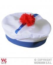 chapeau de matelot, bob marin, bob de la marine, béret de marin, béret de marine avec pompon, chapeau de matelot, accessoires déguisement marin Bob Marin, Pompon Rouge