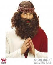 perruque pour homme, perruque pas chère, perruque de déguisement, perruque homme, perruque de jésus, perruque châtain, perruque avec barbe Perruque + Barbe de Jesus, Châtain
