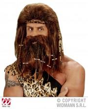 perruque pour homme, perruque pas chère, perruque de déguisement, perruque homme, perruque homme des cavernes, perruque de cromagnon, perruque avec barbe, perruque préhistorique, perruque caveman, Perruque et Barbe, Caveman Os, Châtain