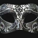 masque vénitien, loup vénitien, masque carnaval de venise, véritable masque vénitien, accessoire carnaval de venise, déguisement carnaval de venise, loup vénitien fait main Vénitien, Brillante, Noir et Argent