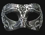 masque brillant, masque vénitien paillettes, masque vénitien, loup vénitien, masque carnaval de venise, véritable masque vénitien, accessoire carnaval de venise, déguisement carnaval de venise, loup vénitien fait main Vénitien, Brillante, Noir et Argent