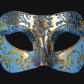 masque vénitien, loup vénitien, masque carnaval de venise, véritable masque vénitien, accessoire carnaval de venise, déguisement carnaval de venise, loup vénitien fait main Vénitien, Brillante, Bleu et Or