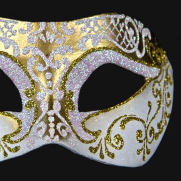masque vénitien, loup vénitien, masque carnaval de venise, véritable masque vénitien, accessoire carnaval de venise, déguisement carnaval de venise, loup vénitien fait main Vénitien, Brillante, Or et Blanc Nacre