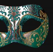 masque vénitien, loup vénitien, masque carnaval de venise, véritable masque vénitien, accessoire carnaval de venise, déguisement carnaval de venise, loup vénitien fait main Vénitien, Brillante, Vert et Argent