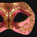 masque brillant, masque vénitien paillettes, masque vénitien, loup vénitien, masque carnaval de venise, véritable masque vénitien, accessoire carnaval de venise, déguisement carnaval de venise, loup vénitien fait main Vénitien, Brillante, Rose et Or