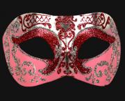 masque vénitien, loup vénitien, masque carnaval de venise, véritable masque vénitien, accessoire carnaval de venise, déguisement carnaval de venise, loup vénitien fait main Vénitien, Brillante, Rose et Argent