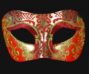 masque vénitien, loup vénitien, masque carnaval de venise, véritable masque vénitien, accessoire carnaval de venise, déguisement carnaval de venise, loup vénitien fait main Vénitien, Brillante, Rouge et Or