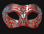 masque vénitien, loup vénitien, masque carnaval de venise, véritable masque vénitien, accessoire carnaval de venise, déguisement carnaval de venise, loup vénitien fait main Vénitien, Brillante, Rouge et Argent