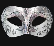 masque brillant, masque vénitien paillettes, masque vénitien, loup vénitien, masque carnaval de venise, véritable masque vénitien, accessoire carnaval de venise, déguisement carnaval de venise, loup vénitien fait main Vénitien, Brillante, Blanc Nacre et Argent