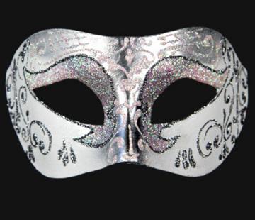 masque vénitien, loup vénitien, masque carnaval de venise, véritable masque vénitien, accessoire carnaval de venise, déguisement carnaval de venise, loup vénitien fait main Vénitien, Brillante, Blanc Nacre et Argent