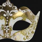 masque vénitien, loup vénitien, masque carnaval de venise, véritable masque vénitien, accessoire carnaval de venise, déguisement carnaval de venise, loup vénitien fait main Vénitien, Stella, Or et Blanc Nacre