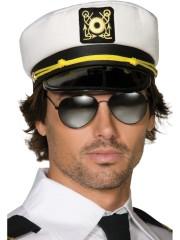casquette capitaine, chapeau de capitaine de la marine, accessoire déguisement capitaine, casquette de marin, casquettes marins Casquette de Capitaine avec Ecusson