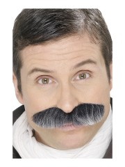 fausses moustaches, postiche, moustache postiche, fausses moustaches réalistes, fausse moustache de déguisement, moustaches grises Moustache Chef d'Escadron, Grise