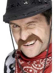 fausses moustaches, postiche, moustache postiche, fausses moustaches réalistes, fausse moustache de déguisement, moustache de cowboy Moustache Cowboy, Châtain