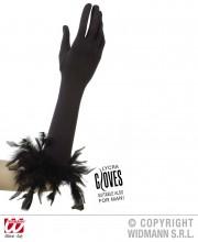 gants charleston, gants plumes noirs, gants noirs plumes, gants longs noirs, gants noirs longs, gants années 20, gants années 30, gants femme déguisement, accessoires gants, accessoire gants noirs Gants en Lycra et Plumes, Noirs