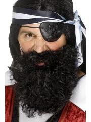 fausse barbe, fausses moustaches, postiche, barbe postiche, fausse barbe réaliste, fausse barbe de déguisement Barbe Frisée Noire