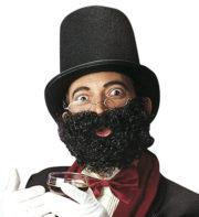 fausse barbe, fausses moustaches, postiche, barbe postiche, fausse barbe réaliste, fausse barbe de déguisement Barbe Frisée, Noire