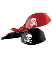 coiffe de pirate, chapeau de pirate, accessoire déguisement de pirate, chapeaux de pirates Coiffe de Pirate, Rouge ou Noire