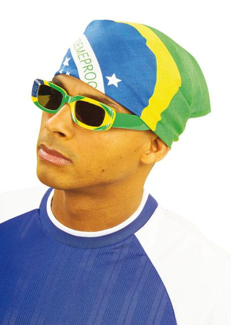 bandana brésilien, bandana brésil, drapeau du brésil, soirée brésilienne, accessoire brésil, Bandana Brésil