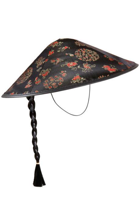chapeau chinois, chapeaux chinois avec tresse, accessoires déguisement chinois, soirée à thème asie, Chapeau Chinois, Tresse