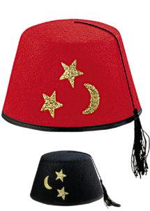 chapeau fez, chapeau turc, chapeau oriental, chapeaux fez, Chapeau Fez Etoiles, Rouge ou Noir