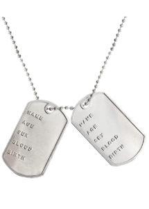 collier plaque militaire, collier plaque de GI américain, collier déguisement militaire, accessoire militaire déguisement, collier plaque identification militaire déguisement, Collier Plaque Militaire sur Chaîne