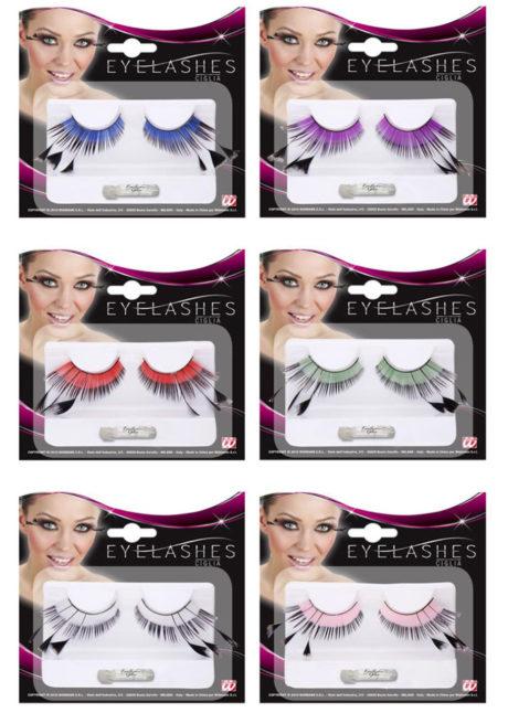 faux cils plumes, faux cils bicolores avec plumes, Faux Cils Bicolores, Plumes, Différents Coloris