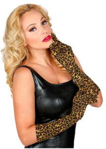 gants lycra léopard, gants longs femme, gants déguisement, gants longs léopard, gants motifs léopard, gants femme léopard, accessoire léopard déguisement, accessoire déguisement léopard, Gants Léopard, en Lycra