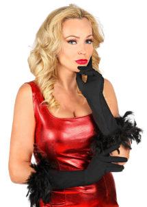 gants charleston, gants plumes noirs, gants noirs plumes, gants longs noirs, gants noirs longs, gants années 20, gants années 30, gants femme déguisement, accessoires gants, accessoire gants noirs, Gants Noirs, en Elasthane, avec Plumes