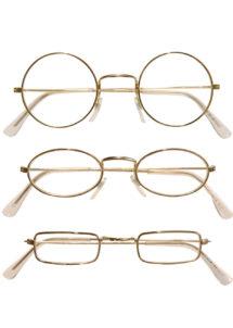 lunettes dorées, lunettes père Noel, lunettes déguisements, lunettes déguisement vieux, Lunettes Dorées, 3 Montures
