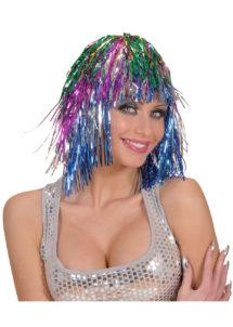 perruque disco, perruque lamé, perruque multicolore, perruque années 80, Perruque Lamé 80, Multicolore