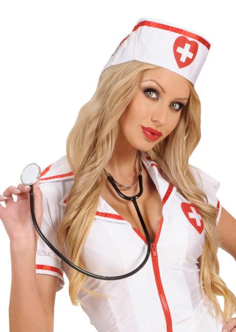 accessoire stéthoscope déguisement, accessoire infirmière déguisement, accessoire déguisement infirmière, faux stéthoscope déguisement, accessoire déguisement chirurgien,, Stéthoscope Fonctionnel, Noir