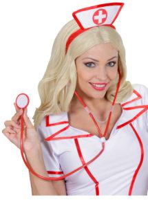 accessoire stéthoscope déguisement, accessoire infirmière déguisement, accessoire déguisement infirmière, faux stéthoscope déguisement, accessoire déguisement chirurgien,, Stéthoscope, Rouge