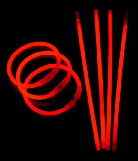 bracelets fluos, soirée fluo, accessoires fluos, batons fluos Bracelets Fluos, x 100, Rouge