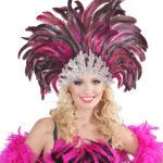coiffe brésilienne, accessoire carnaval de rio, coiffe de carnaval, coiffure brésilienne, accessoire déguisement, déguisement brésilienne, coiffe brésilienne à plumes Coiffe Brésilienne, Fuchsia