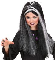 perruque sorcière enfant, perruque mortisia enfant, perruque noire et blanche enfant, perruque pour enfant Perruque de Sorcière, Noire, Mèches Phosphorescentes